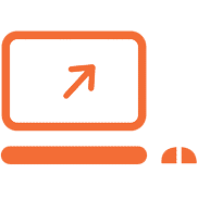 Icon of Computer with arrow.